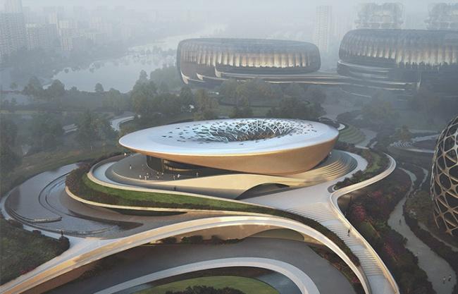 成都独角兽岛总体规划首座建筑即将完工 / Zaha Hadid Architects